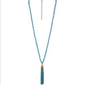 Mud pie blue beaded tassel necklace
